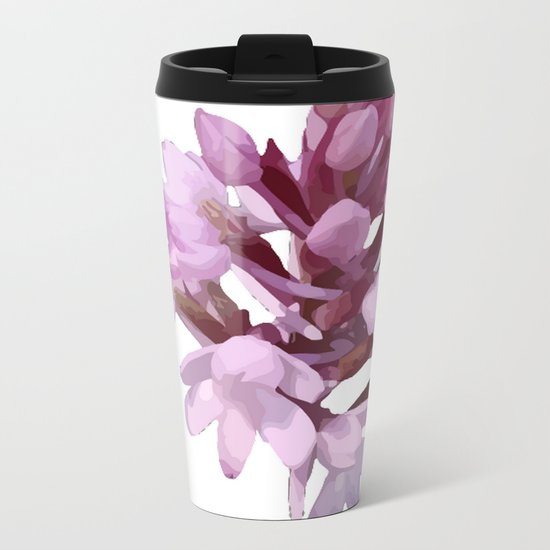 Pink Orchid Wildflower Metal Travel Mug