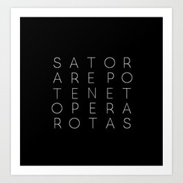 Sator Square Modern Witch Typorgraphy - on black Art Print