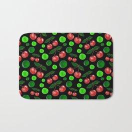 Cherries on Black Bath Mat