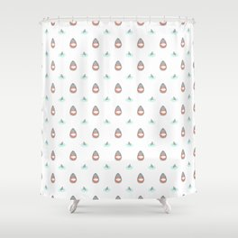Shark Heads & Fins in Grey on White With Aqua Ripples Shower Curtain