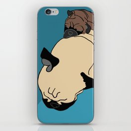 Pug and puppy napping iPhone Skin