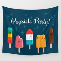 popsicle Wall Tapestries featuring Popsicle Party by Melanie Demmer