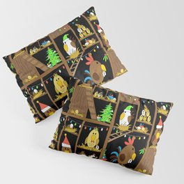 Chicken Coop Christmas - by Kara Peters - funny chickens, holidays Pillow Sham