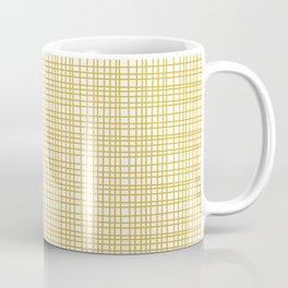 Fine Weave Retro Modern Mid-Century Pattern in Mustard Yellow and White Coffee Mug