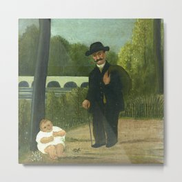 "Henri Rousseau ""Stroller and Child"" Metal Print"