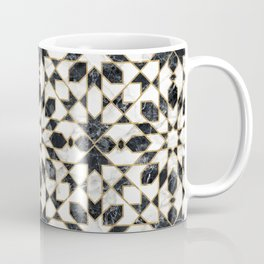 Black and white marble Moroccan mosaic Coffee Mug