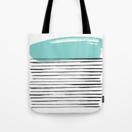 Lines in Black and Turquoise Tote Bag