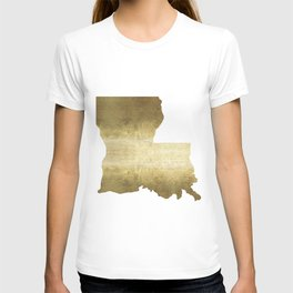 louisiana gold foil state map T-shirt