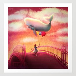 Whale and Balloons Art Print