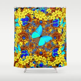 OPULENT YELLOW FLOWERS & BLUE SATIN BUTTERFLY ART Shower Curtain