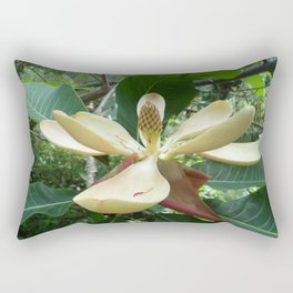 Botanical Garden Europe White Magnolia Rectangular Pillow