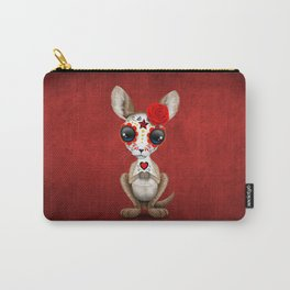 Red Day of the Dead Sugar Skull Baby Kangaroo Carry-All Pouch