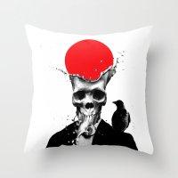 skull Throw Pillows featuring SPLASH SKULL by Ali GULEC