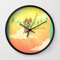 birdman Wall Clocks featuring Hawkman - Birdman on a Wire by alex m clark