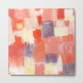 City Sunset Geometric Abstract Painting Metal Print