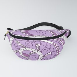 zen tangled swirl pattern 1 on the violet Fanny Pack