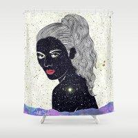 kim sy ok Shower Curtains featuring Kim by Veronique de Jong