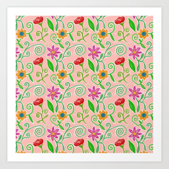 Lovely Colorful Floral Pattern Art Print