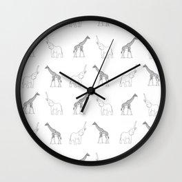 Elephant And Giraffe Wall Clock