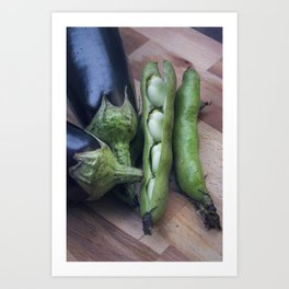 Eggplants and beans go well together Art Print