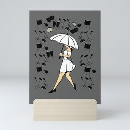 Music Art Drums And Woman With Umbrella In The Rain Cartoon Style Mini Art Print