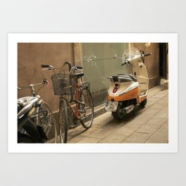 Bikes and a Scooter on Old Road Art Print