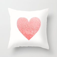 CORAL HEART Throw Pillow