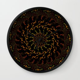 Red Orange and Yellow Kaleidoscope 4 Wall Clock