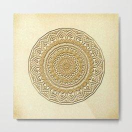 Golden Plate Mandala in 3D Metal Print