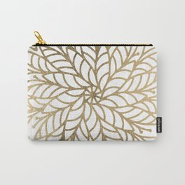 Elegant white faux gold floral trendy mandala Carry-All Pouch