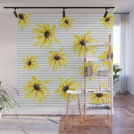 Bright Yellow Daisies on Stripes Wall Mural