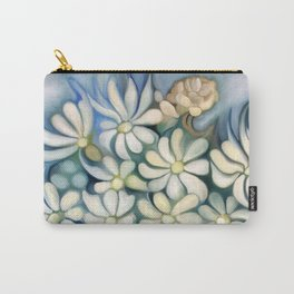 """Bouquet of white flowers on blue"" Carry-All Pouch"