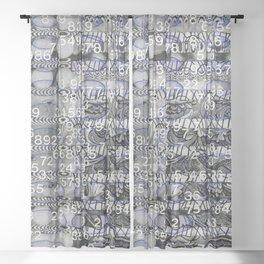 Post Digital Tendencies Emerge (P/D3 Glitch Collage Studies) Sheer Curtain