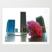 Flower in the LA Skyline Art Print