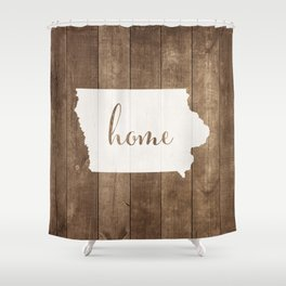 Iowa is Home - White on Wood Shower Curtain