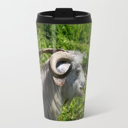 Side View of A Billy Goat Grazing Travel Mug