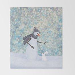 snowman and white rabbit Throw Blanket