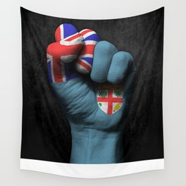Fiji Flag on a Raised Clenched Fist Wall Tapestry