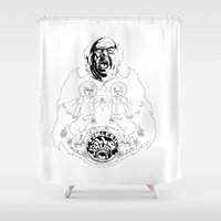tim shumate Shower Curtains featuring Two Horses, Tim and Eric (B&W) by Paul Lapusan