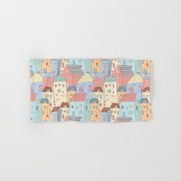 Cute Houses Collection, Town Seamless Pattern, Digital Clipart, Pattern, Cute Illustration Hand & Bath Towel