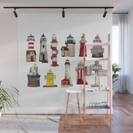 Watercolor lighthouses of world Wall Mural