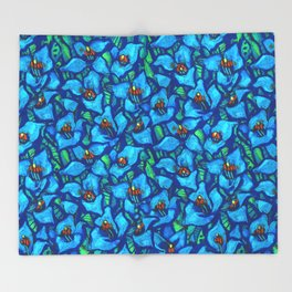 The Blue Puya, Floral Art, Tropic Fowers Throw Blanket