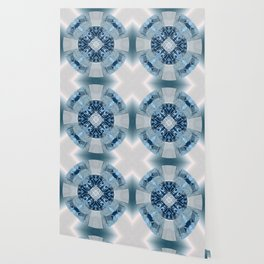 Microchip Mandala in Blue Wallpaper