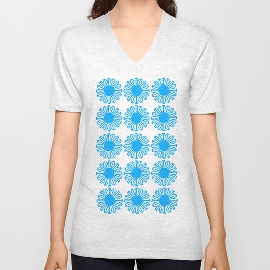 Vintage Flower_Turquoise Unisex V-Neck