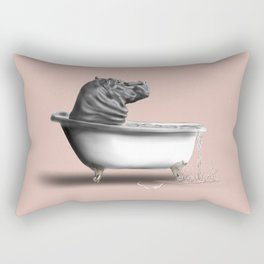 Hippo in Bath Rectangular Pillow
