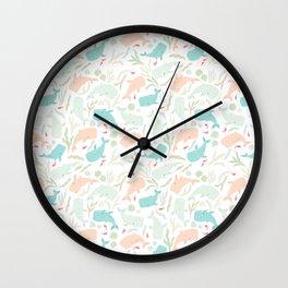 Pastel Whale Pattern Wall Clock