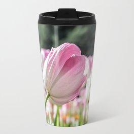 Pink & White Tulip Travel Mug