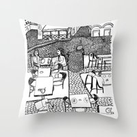 stockholm Throw Pillows featuring Stockholm by intermittentdreamscapes