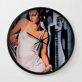 Classical Art Deco Masterpiece 'Portrait de Madame Allan Bott' NYC by Tamara de Lempicka Wall Clock