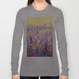 Glade of gentle flowers oil painting by Rybakow Long Sleeve T-shirt